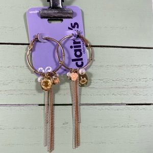 🆕 Claire's Hoop Earrings with Dangling Accents